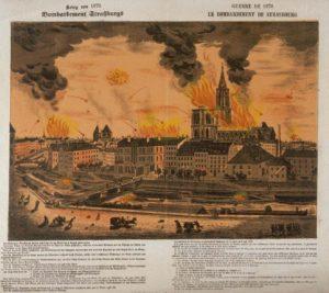 Fig. 3: le bombardement de Strasbourg, lithographie de Ch. Kreyder, 1871 © BnF-Gallica