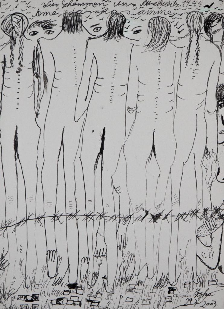 Ceija Stojka, Lazas ame, Wir schämen uns, 1944, 2003, encre sur papier. © Ceija Stojka, Adagp, 2017. Courtesy Galerie Kai Dikhas