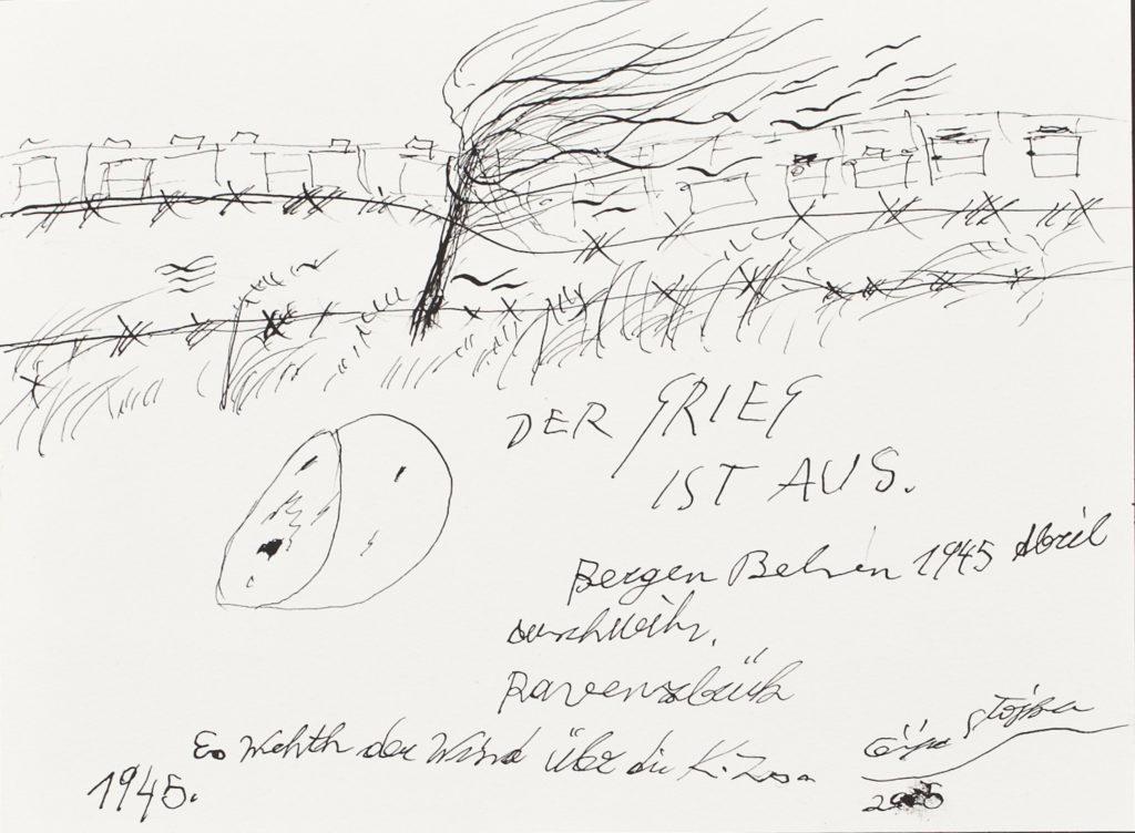 Ceija Stojka, Der Krieg ist aus, Bergen-Belsen, 1945, 2005 encre sur carton © Ceija Stojka, Adagp, 2017