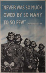 fig.4 Affiche de propagande exaltant le rôle des few, ces quelque 600 pilotes de la RAF à qui Churchill rendit hommage dans son allocution du 20 août 1940.