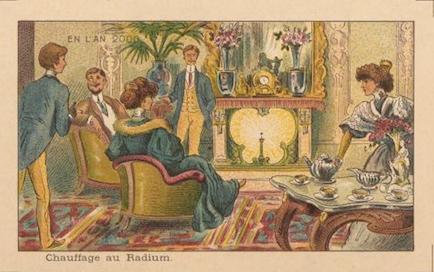 Fig. 10 «Chauffage au radium», vignette extraite de la série lithographiée «En l'an 2000» (Paris, 1910), Gallica/BnF. © BnF