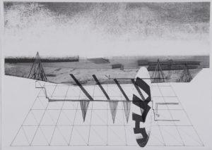 Fig. 12 Cécile Massart, La conscience du paysage, 2009, de la série «Cover». Dessin et D-print sur papier, 155x110cm. © Cécile Massart