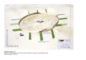 Fig. 14 Cécile Massart, Defensive Angles, 2017, Nouveau-Mexique (États-Unis). Esquisse pour le laboratoire du WIPP (Waste Isolation Pilot Plan), dessin sur papier, 100x70 cm. © Cécile Massart